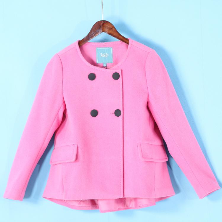 伊系列 冬季 減齡前短後長雙排扣羊毛呢短大衣外套314