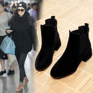 磨砂短靴女中跟2019春款?#25351;?#22278;头时装靴女士切尔西靴一脚蹬妈妈鞋