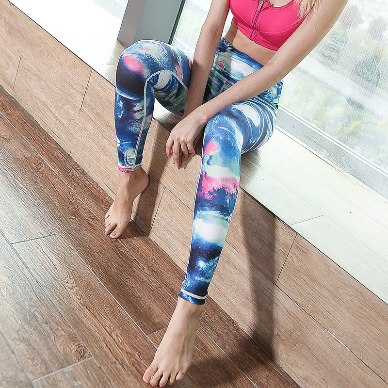 3dcf99e9f5 Yoga pants Printing splicing fitness running trousers Yoga dance stepping  foot style tight sports pants girl | ezbuy.my