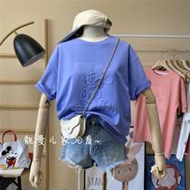 凹凸立体卡通动漫宽松大码夏季薄款少女心减龄简约女韩版短袖T恤