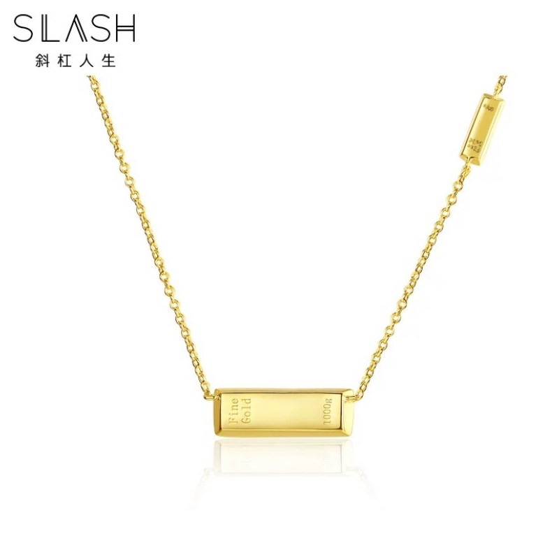 Gold jewelry gold necklace collarbone chain small gold bar Gold Pendant