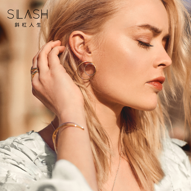 Slash gold silver two color mix open Bracelet women fashion personality versatile original design mixed color 925 Silver Bracelet