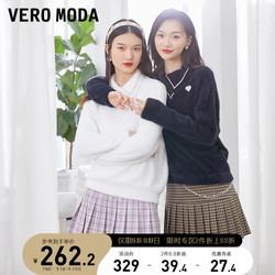 Vero Moda2021秋冬新款双层翻领仿水钻毛绒宽松针织衫 321313047