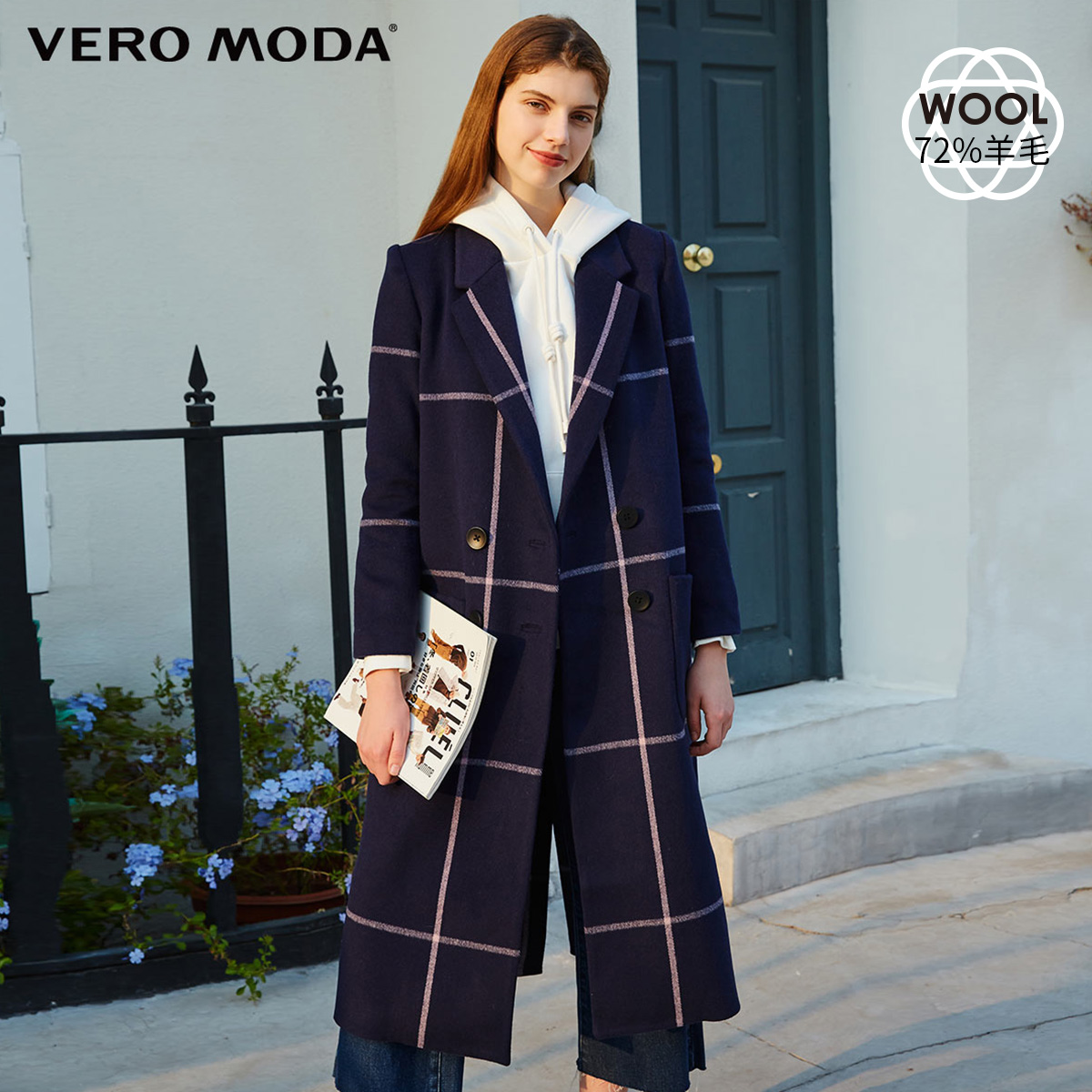 Vero moda2019 aww / sheepskin Plaid double breasted wool overcoat for women 319427501