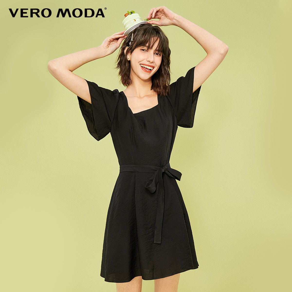Vero Moda women's dress spring 2020 light mature fairy dress elegant little black dress French temperament dress woman