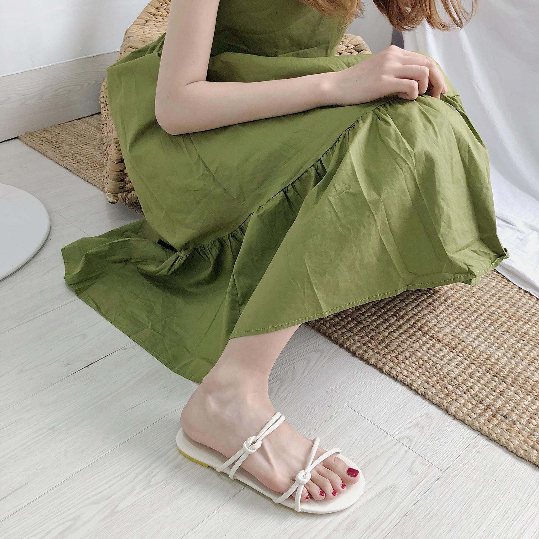 2018夏季新款女鞋随意脚环绑带女式低跟罗马风格平底防滑拖鞋