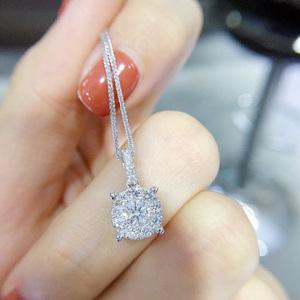 百圣珠宝 18k白金四爪钻石吊坠女钻石项链一克拉单钻锁骨链正品