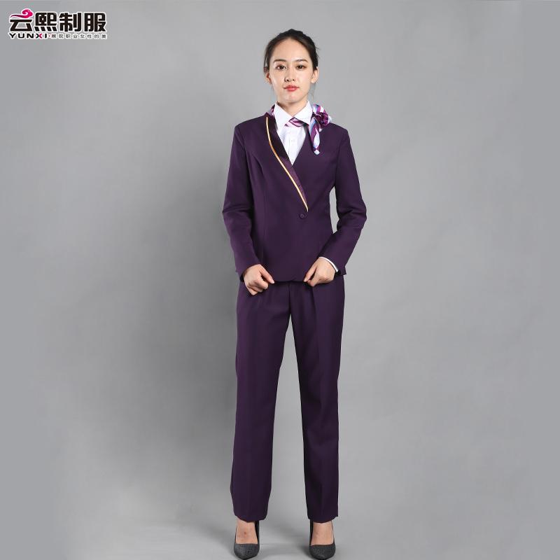 订制南航空姐制服装酒店前台客服上班面试职业套装白领工作装