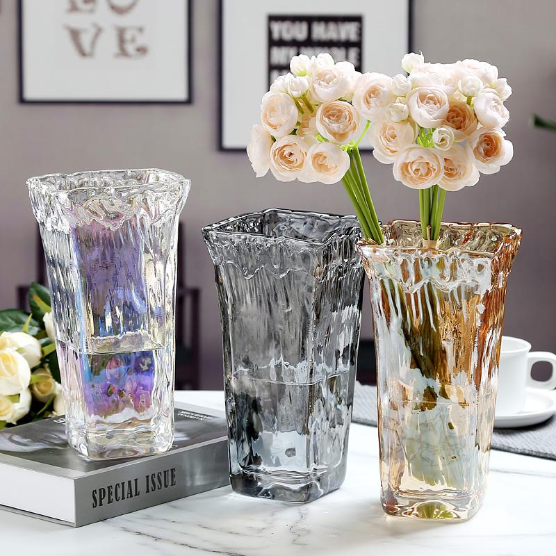 富贵竹鲜花玻璃花瓶透明大口径插花水养大号北欧客厅摆件宽口现代