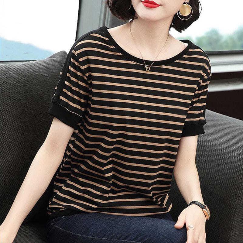 ZZ10短袖T恤女2021年夏季新款大码妈妈装宽松条纹上衣拼接圆领体