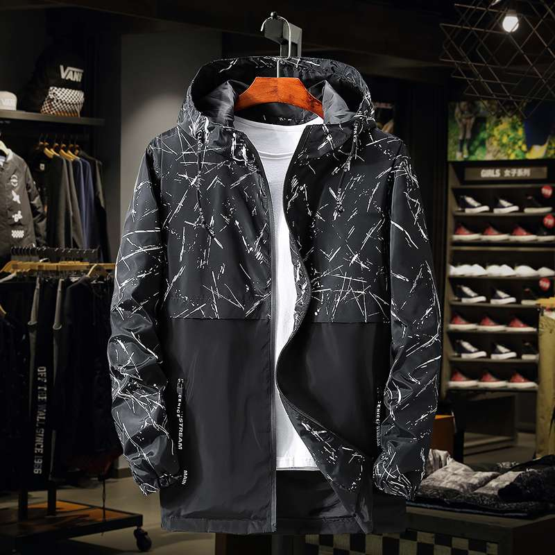 Oversized jacket for mens fattening and increasing spring and autumn thin windbreaker coat fat oversize coat loose top fashion