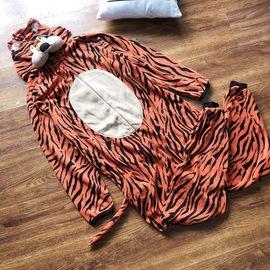 超可爱!情侣款老虎造型连体衣男女睡衣起居服秋冬款冬季摇粒绒新