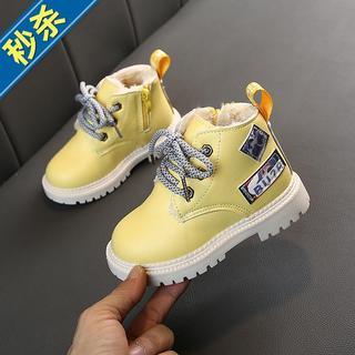 2019冬款儿n童棉鞋时尚加绒短靴男童大头皮鞋加厚雪地靴女童棉靴