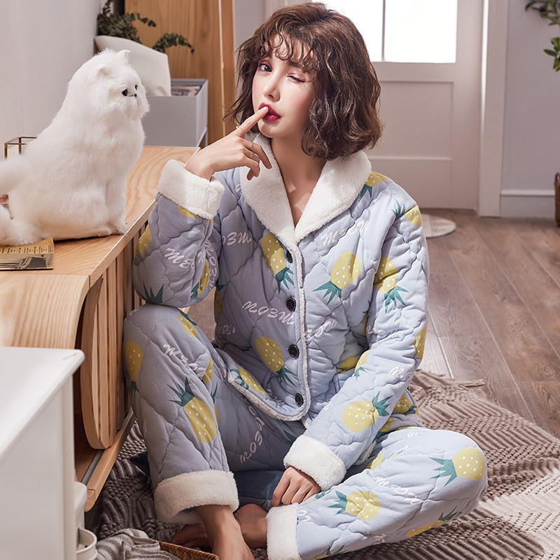 Pajamas women autumn and winter cotton lovely fat mm thick warm three layer cotton jacket winter jacket suit