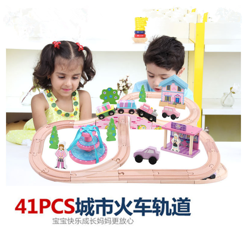 3-6岁宝宝公主女孩木质轨道车托马斯小火车套装玩具车