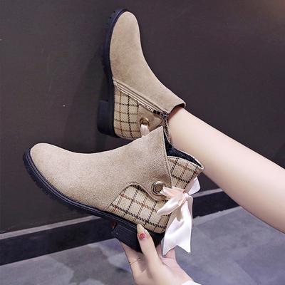 短靴女2019新款秋冬靴子韓版百搭粗跟冬季網紅瘦瘦靴女短筒靴子女