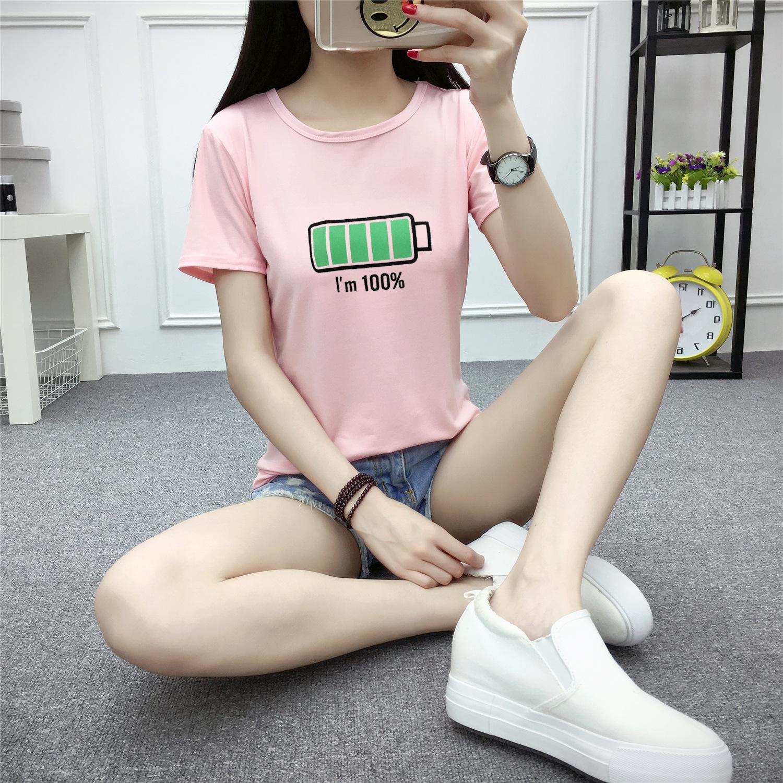 热卖女t恤夏装宽松卡通韩版新款短袖体恤女士t恤半袖电池印花t恤