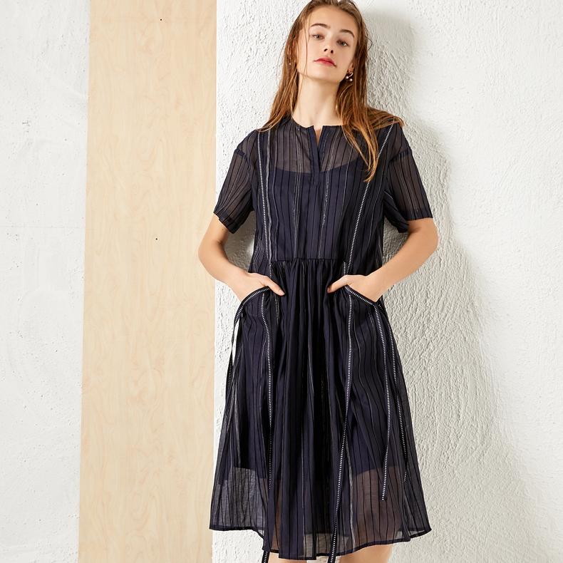 设计师款 气质随性宽松线条深蓝黑短袖及膝连衣裙2021夏新款女装