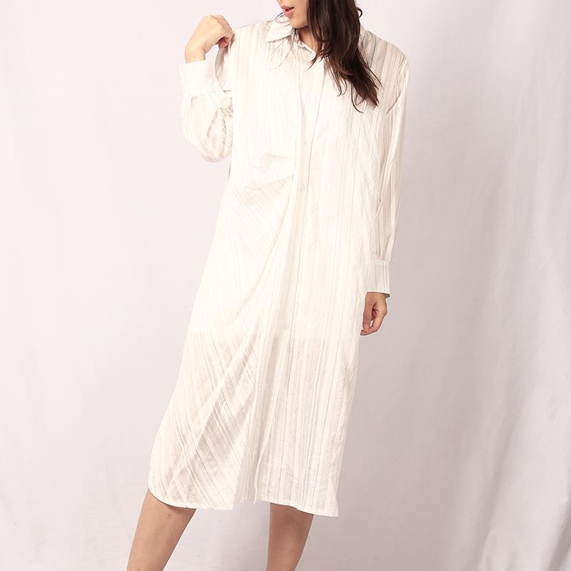 IQW2021新款法式白色条纹衬衫连衣裙长袖翻领气质纯色休闲小众裙