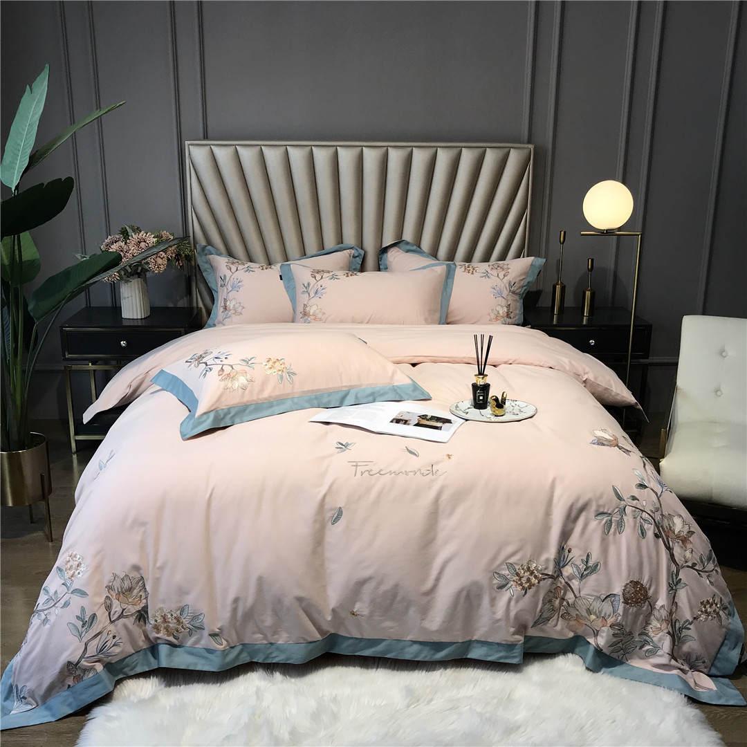 富アンナ芸術新中国風秋冬厚い純綿と毛の4点セットのハイエンド刺繍寝具