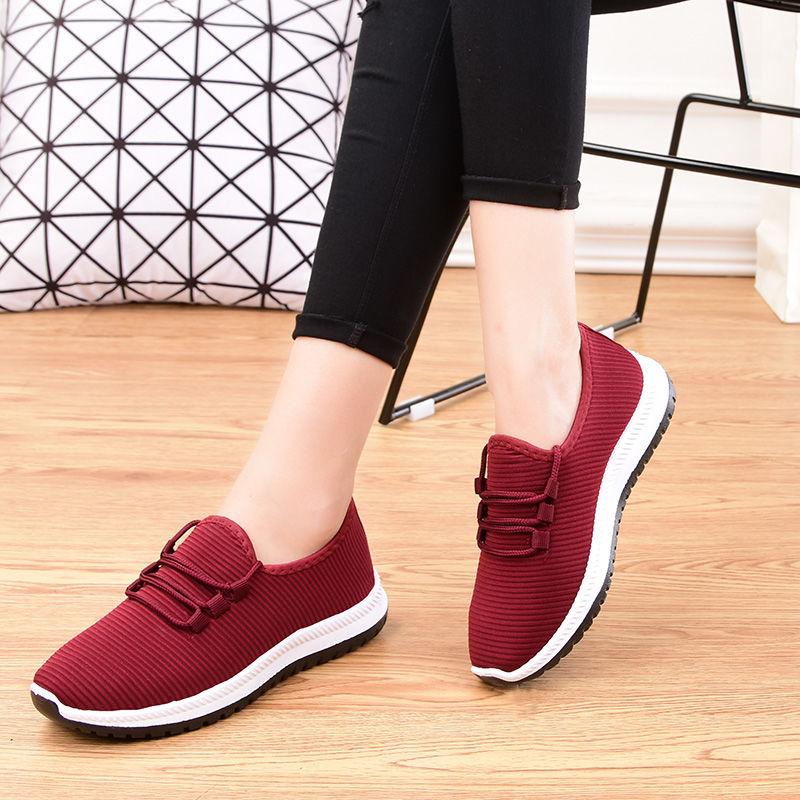 新款秋季老北京布鞋男女一脚蹬运动鞋防滑舒适健步鞋女单鞋妈妈鞋