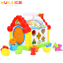 Huijia Toys 739 Fun Lodge Baby Early education puzzle cognitive shape building blocks paired digital house 1-3 years old