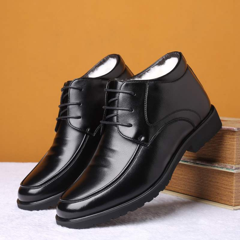 Winter middle aged mens high top leather cotton shoes business casual leather shoes round head and plush warm suit dad shoes