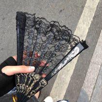 纯黑色扇子黑骨折扇jk蕾丝中国风古风中式女镂空蹦迪舞蹈汉服排扇