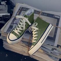 橄榄绿色高帮帆布鞋女泫雅风学生韩版潮鞋子2019新款百搭网红板鞋