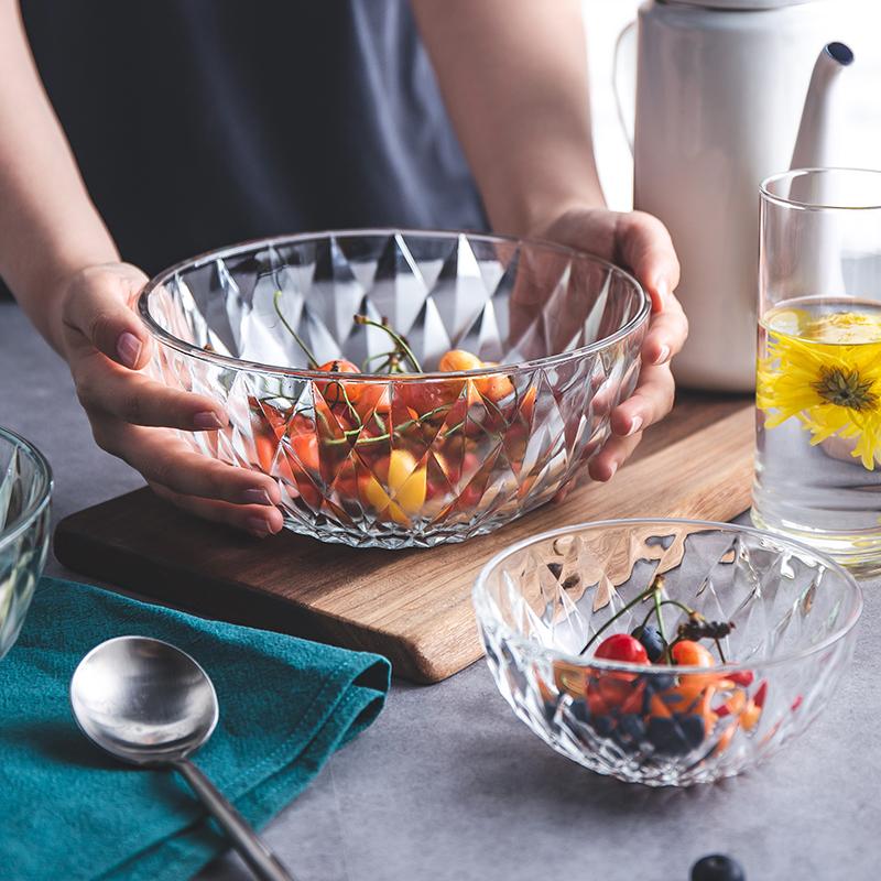 玻璃碗家用好看的碗餐具套装简约透明碗ins餐具大碗号碗水果沙拉