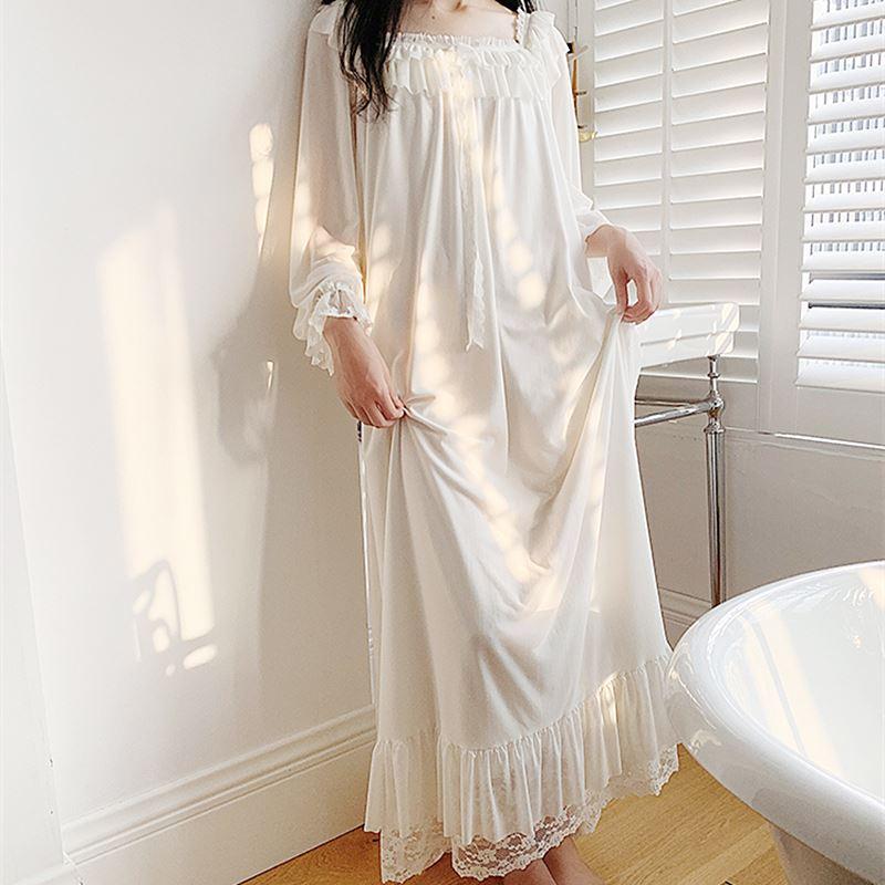 长款睡裙女超长脚踝睡衣2021年新款夏季连体春薄潮流简约冷淡风