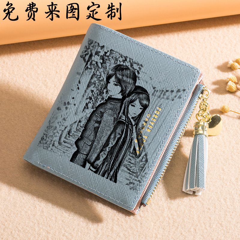 Womens purse new short thin vertical fresh zipper buckle simple zero hand customized photo multi card position Japan and Korea