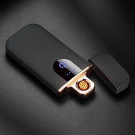 指纹触摸USB充电打火机防风创意个性定制刻字网红男士电子点烟器
