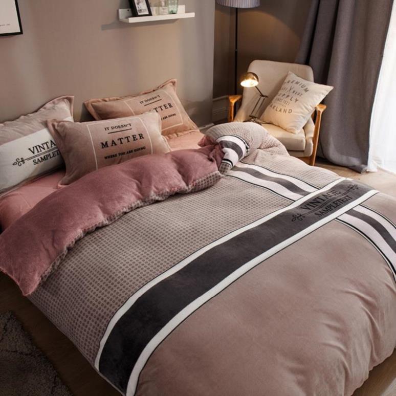 固定床上四件套简约玫红现代图案午睡毛球男生浅紫色居家母子大方