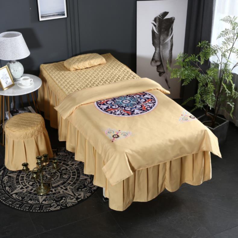 美体风格床裙四件套卡通温暖秋冬季美容桔色洗头床梯形洞spa秋天