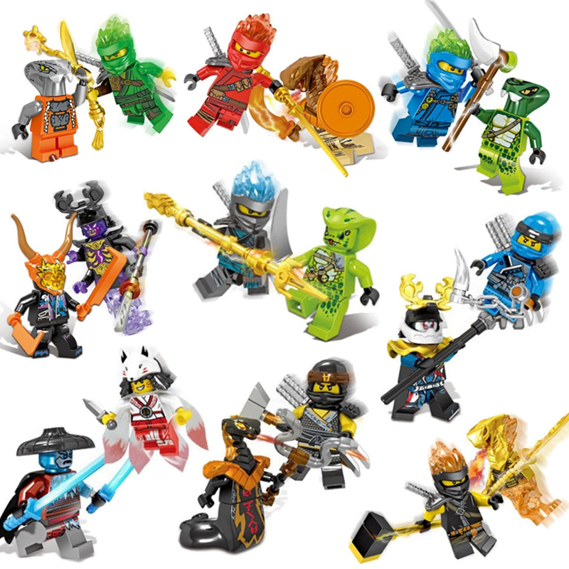 Compatible LEGO mirage Ninja collection snowstorm warrior Akita ghost face arson snake monster helmet assembly block