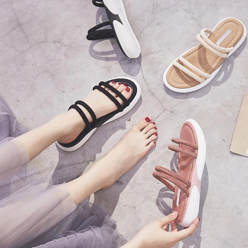 香港潮牌2019新款夏季ins网红平底凉鞋女一鞋两穿仙女风百搭凉拖