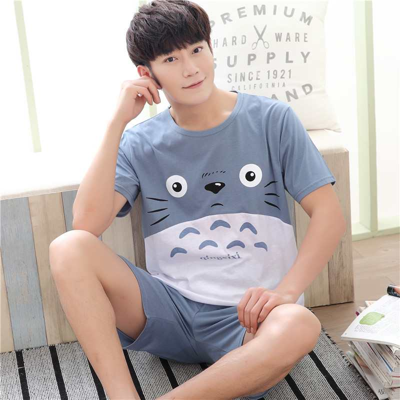Mens pajamas Summer Cotton Short Sleeve summer mens youth vest shorts cotton home wear set plus size