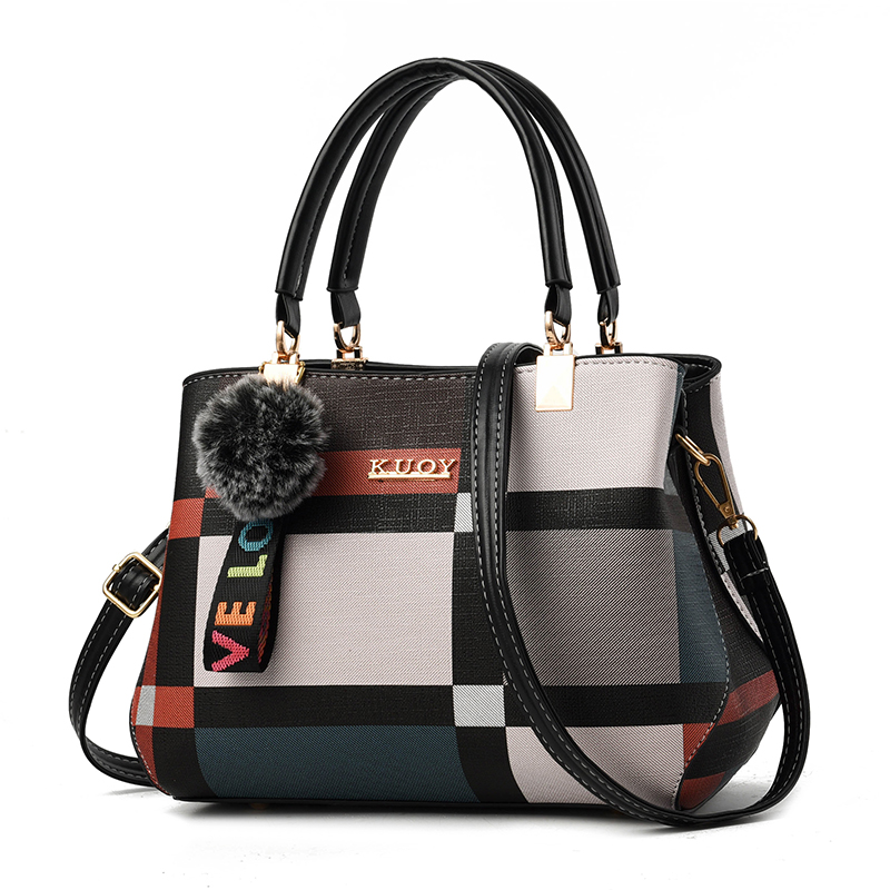 Bag women 2020 new printing Plaid bag stripe color contrast medium sized handbag middle age single shoulder bag slant across bag tide