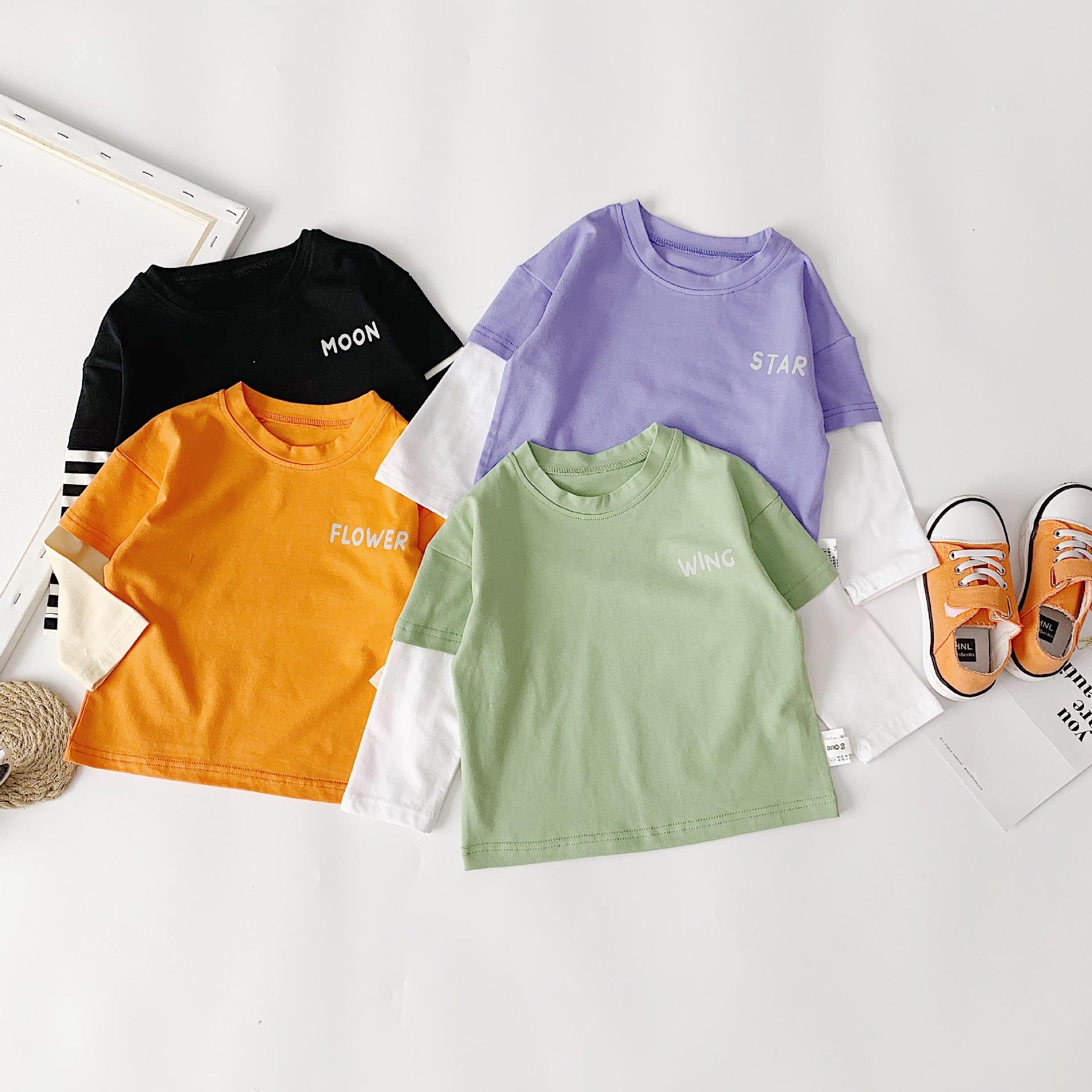 2021秋子供用ファッション夜光Tシャツ男女兼用カジュアル上着偽の2つのボトムカバー