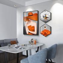 餐厅墙面装饰画带钟表的挂画三件套饭厅挂钟人物艺术壁画时钟墙画