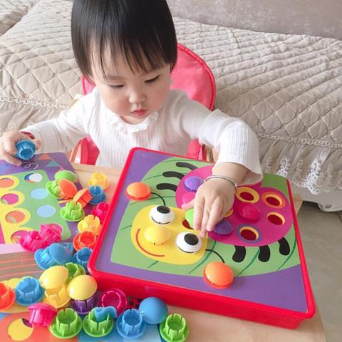 蒙氏早教拼图儿童蘑菇钉益智玩具宝宝1-2-3智力4动脑5男孩女孩6岁
