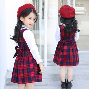 航海线女童连衣裙春秋洋气小女孩公主裙儿童韩版学院风格子背心裙