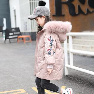 特价 女孩大毛领白鸭绒外套2019冬装 反季 新款 女童羽绒服正品 中长款
