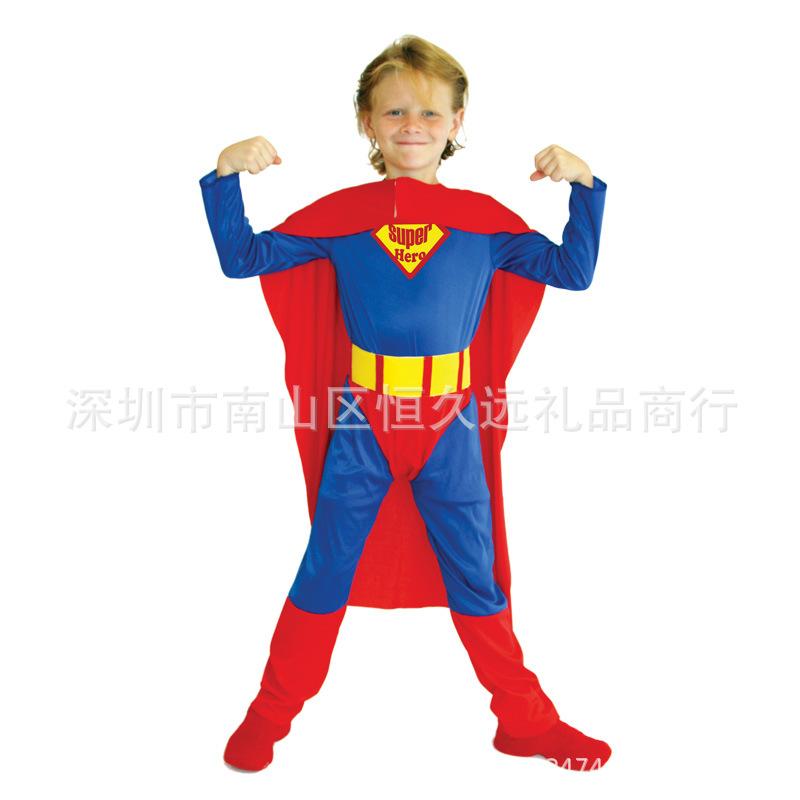 新款小男孩超人服装电影超人服表演演出道具小超人衣服