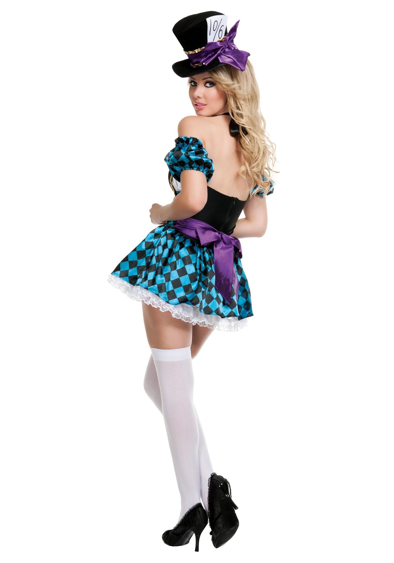 マジシャンのコスプレ衣装のサーカスのピエロ、アリスのワンダーランド成人ハロウィンの衣装の女