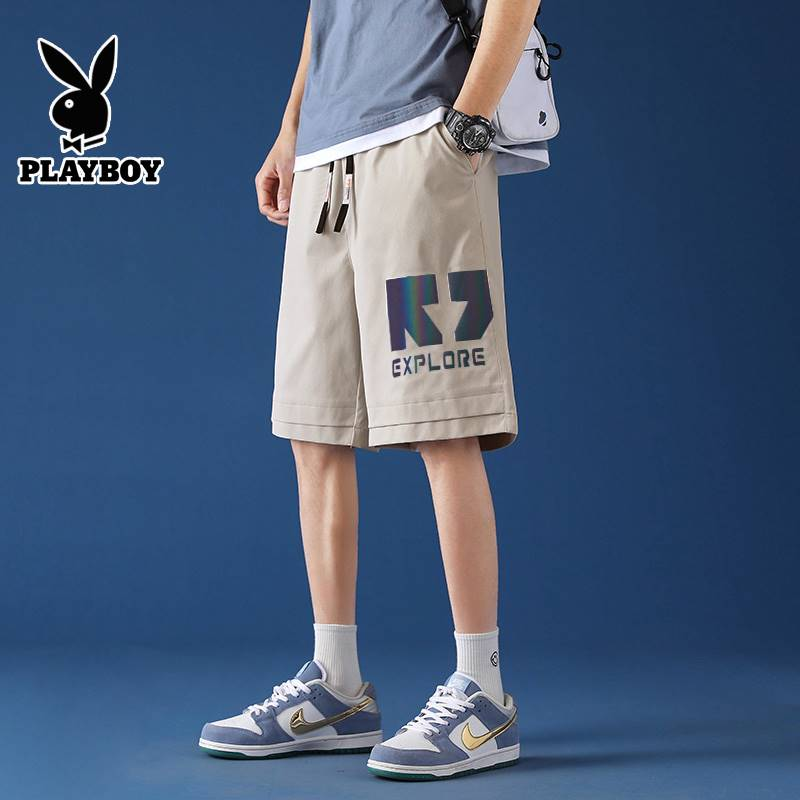 Playboy Work Shorts mens summer thin fashion loose 5-inch straight pants handsome versatile knee length leisure