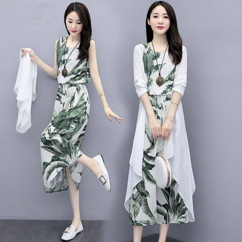 纤衣良品柒月雅画思曼莉女装2020春夏水墨印花开衫女连衣裙两件套