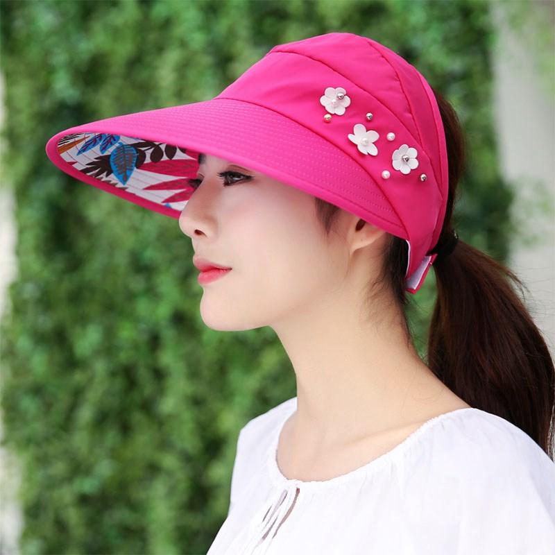 魅性女士摭庶风阳帽子春春夏紫外线大沿折叠风晒太阳冒子可沙滩