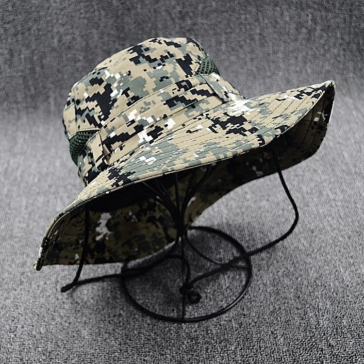 魅性户外帽子男风晒大沿夫帽太阳速干沙漠迷彩登山帽。